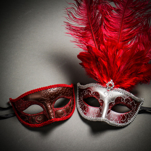 Venetian Classic Eye Mask with Glitter Red & Venetian Silver Mardi Gras Red Tall Feather Couple Masks