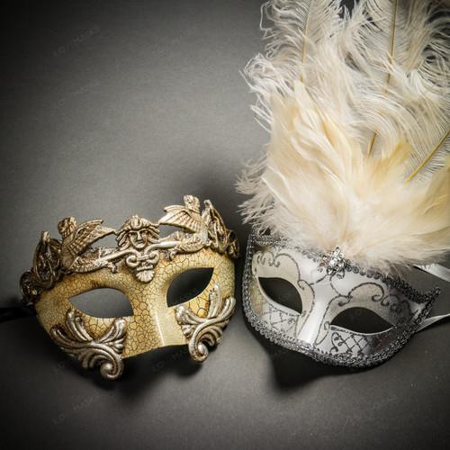 Roman Warrior Cracked White Silver & Venetian Silver Mardi Gras White Tall Feather Couple Masks