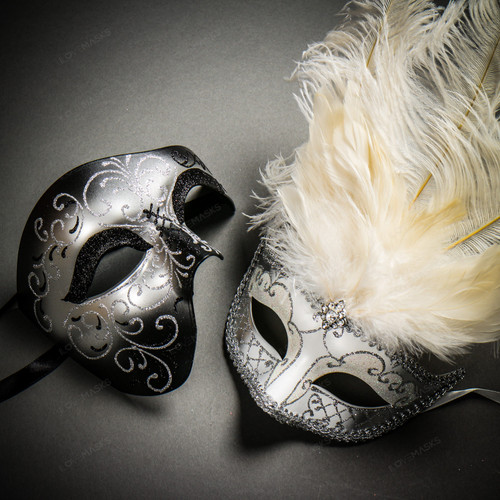 Phantom Full Face Silver Glitter & Venetian Silver Mardi Gras White Tall Feather Couple Masks