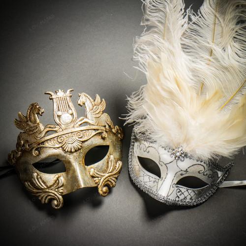 Pegasus Horses Emperor Metallic Silver & Venetian Silver Mardi Gras White Tall Feather Couple Masks