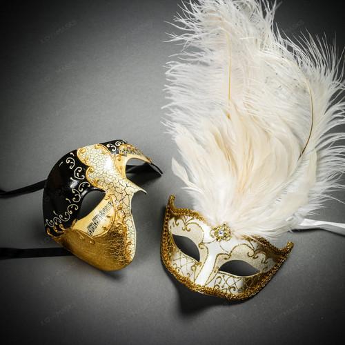 Phantom Full Face Musical Black Gold & Venetian Gold Mardi Gras Black White Feather Couple Masks