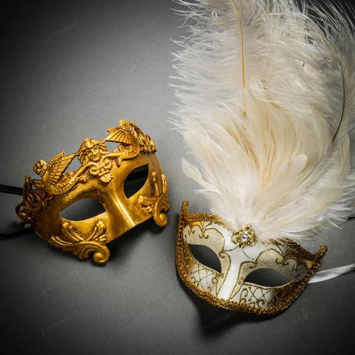 Roman Warrior Metallic Gold & Venetian Gold Mardi Gras Black White Feather Couple Masks