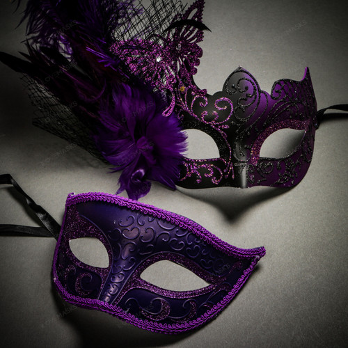 Venetian Classic Eye Mask with Glitter Purple & Butterfly Lace Side Feather Black Purple Couple Masks