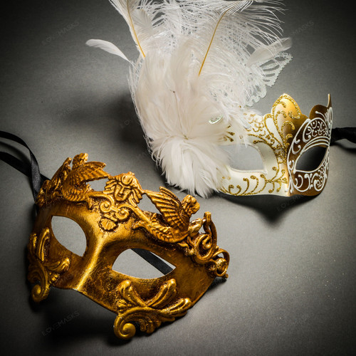 Roman Warrior Metallic Gold & Butterfly Lace Side Feather White Gold Couple Masks