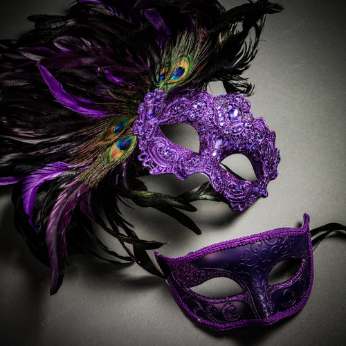Venetian Classic Eye Mask with Glitter Purple & Venice Side Peacock Feather Purple Couple Masks