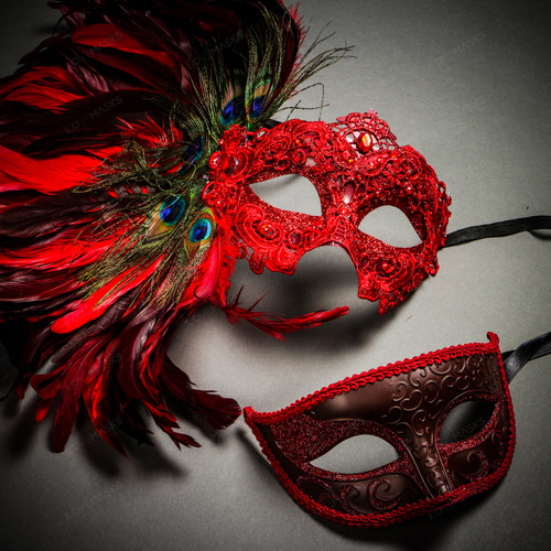 Venetian Classic Eye Mask with Glitter Red & Venice Side Peacock Feather Red Couple Masks