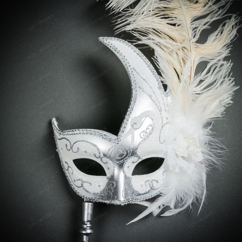 Venetian Side Feather Masquerade Mask with Stick - Silver White