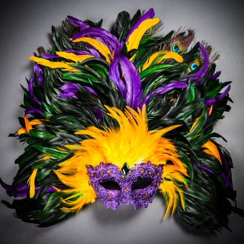 Luxury Venice Women Carnival Masquerade Venetian Mask with Extra Round Top Feather - Purple Yellow