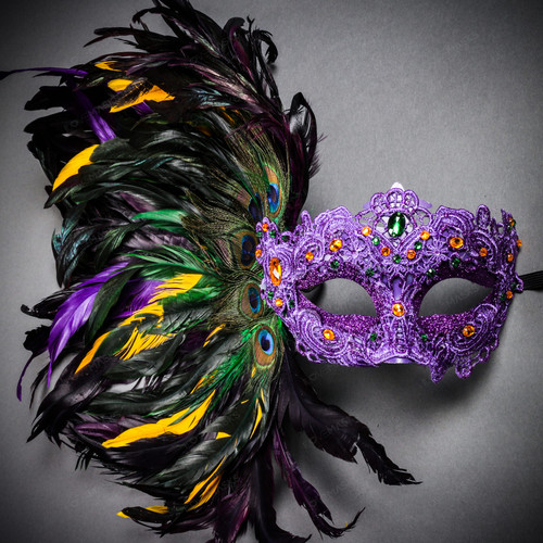 Luxury Traditional Venice Women Carnival Masquerade Venetian Mask with side Feather - Purple Yellow (main image)