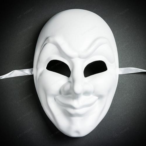 Jester Joker Halloween Masquerade Full Face Mask - White (Front)