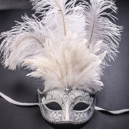 Venetian Glitter Crystal Masquerade Party Mask with Feather - White Silver