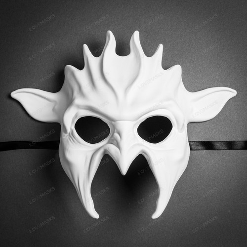 Fire Flame Demon Masquerade Full Face Mask - White