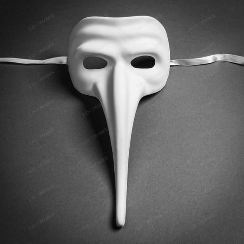 Zanni Long Nose Venetian Mardi Gras Mask Full Face Masquerade - White