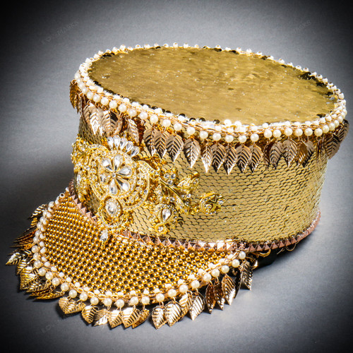 Steampunk Burning Man Captain Tall Cap with Golden Leaf - Gold