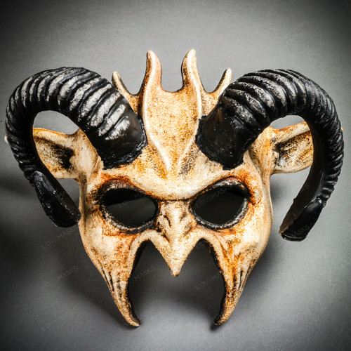 Demon Devil Satan with Black Horns Masquerade Mask - Stone White