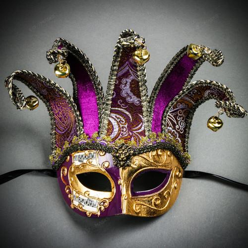 ester Joker Venetian Musical Eye Mask with Bells - Gold Purple