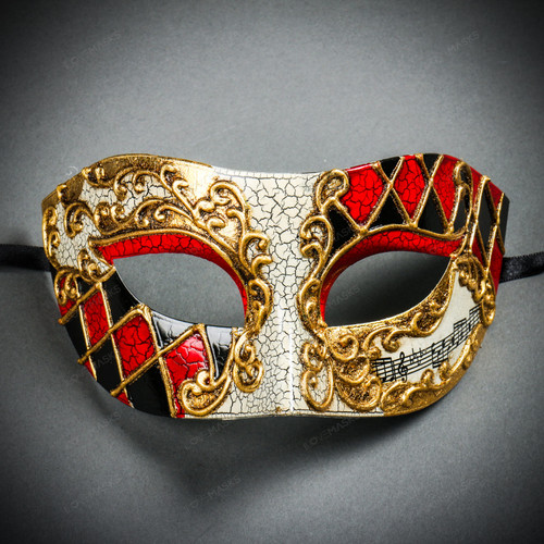 Classic Musical Venetian Masquerade Eye Mask - Gold Red