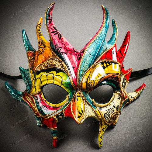 Mythical Demon Devil Crackle Elegant Masquerade Mask - Yellow Blue Red