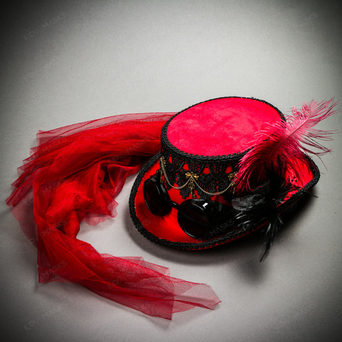 Steampunk Halloween Laces Feather Top Hat with Black Goggles - Red Black
