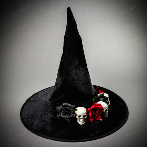 Witch Hat w/ Skull and Rose - Black