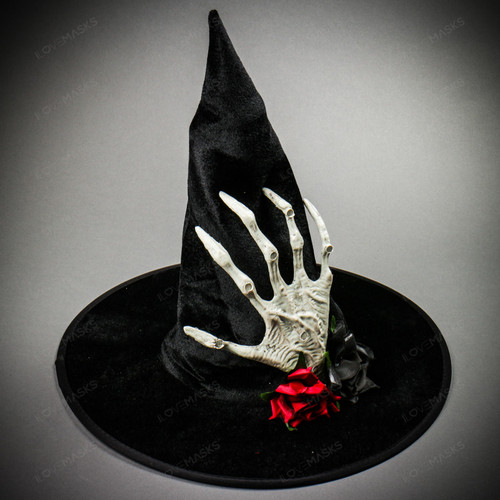 Witch Hat w/ side Skull Hand & Rose - Black