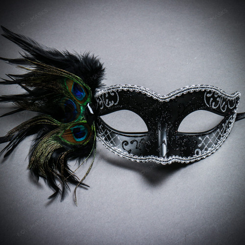 Venetian Side Feather Glitter Eyes Mask - Black Silver