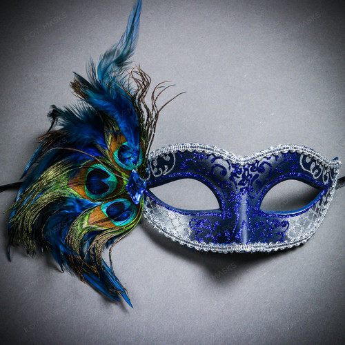 Venetian Side Feather Glitter Eyes Mask - Silver Blue