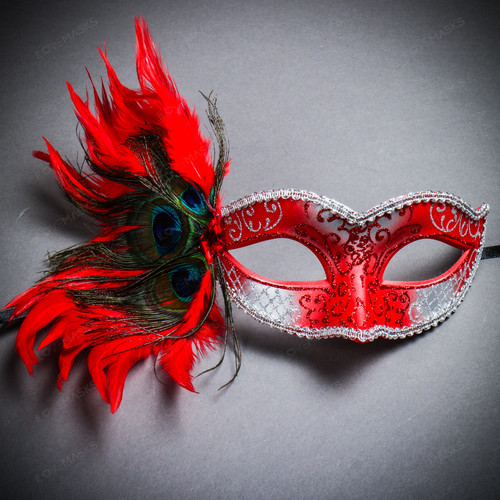 Venetian Side Feather Glitter Eyes Mask - Silver Red
