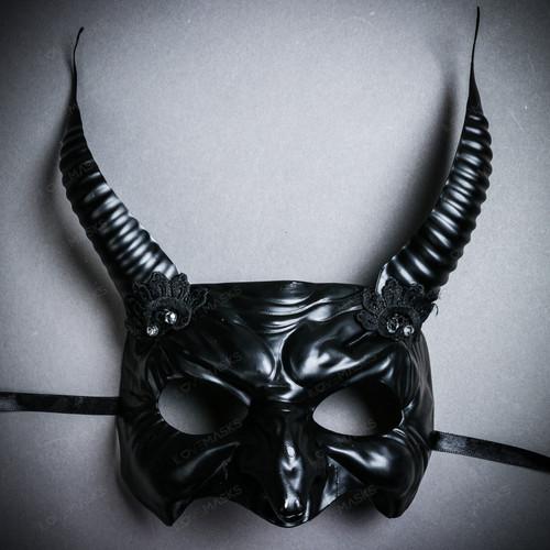 Goblin Devil Long Horn Eyes Mask - Black