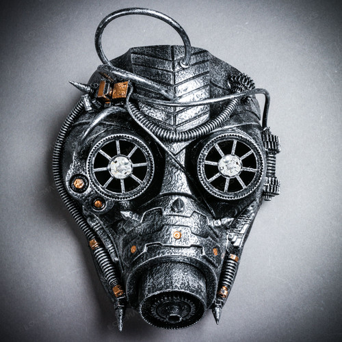 Steampunk Goggles Gas Full Face Mask - Silver