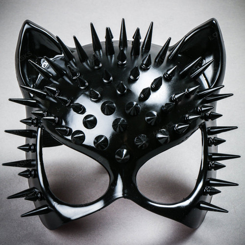 Cat Steampunk Spikes Masquerade Sexy Face Mask - Black