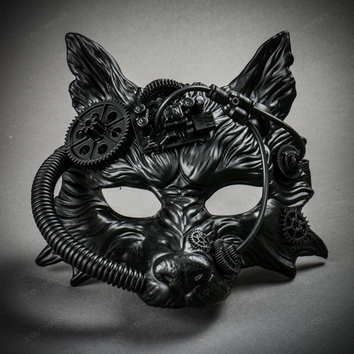 Wild Wolf Animal Steampunk Full Face Masquerade Mask - Black