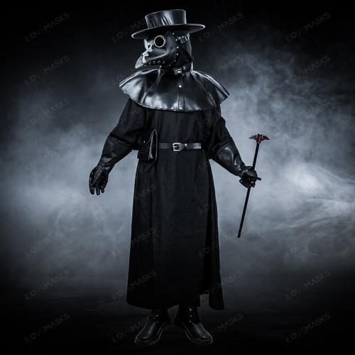 Plague Doctor Full Costume Robe Mask Hat Set - Black Silver