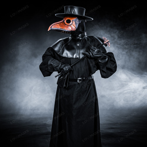 Plague Doctor with Large Bird Mask & Flat Hat Full Costume Set - Brown