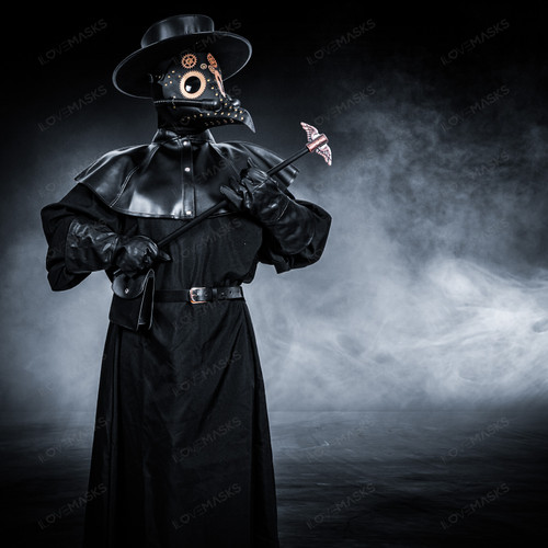 Plague Doctor with Steampunk Mask & Flat Hat Full Costume Set - Black Silver