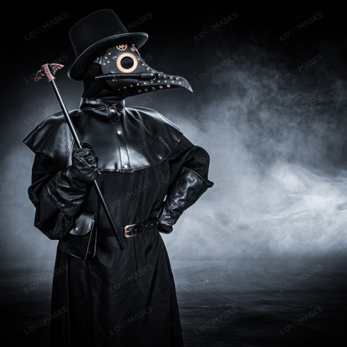 Plague Doctor with Steampunk Mask & Top Hat Full Costume Set - Black Silver
