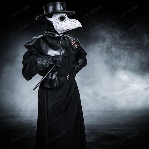 Plague Doctor with Large Bird Mask & Flat Hat Full Costume Set - Black