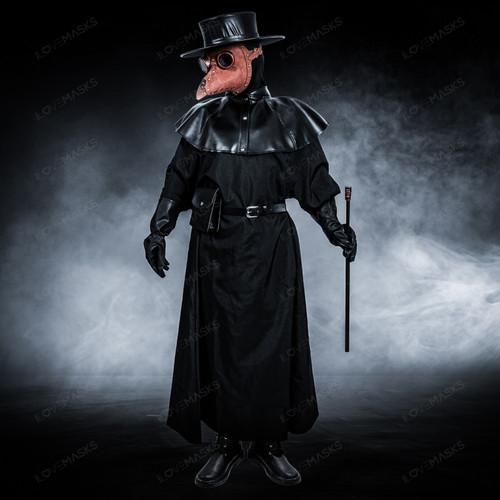 Plague Doctor with Bird Beak Mask & Flat Hat Full Costume Set - Brown