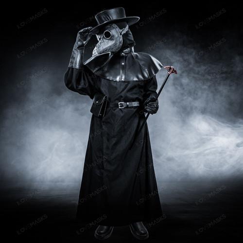 Plague Doctor with Bird Beak Mask & Flat Hat Full Costume Set - Grey Silver