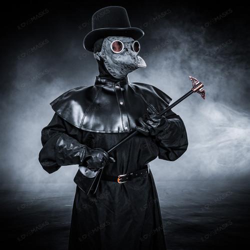 Plague Doctor with Bird Beak Mask & Top Hat Full Costume Set - Grey Silver