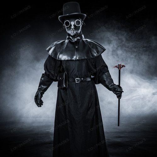 Plague Doctor with Bird Beak Mask & Top Hat Full Costume Set - Black Silver