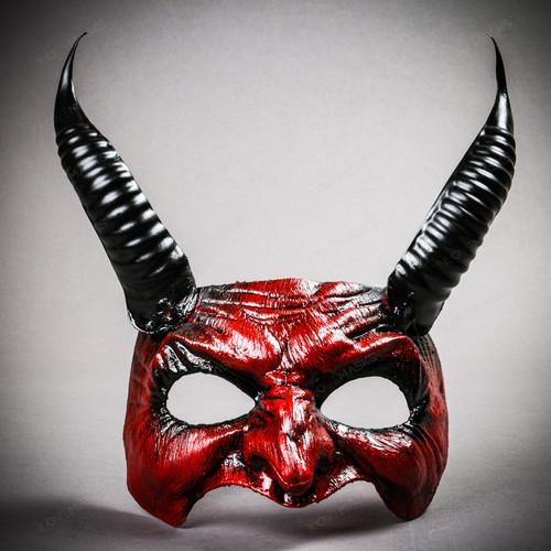 Goblin Devil Long Horn Eyes Mask - Blood Red