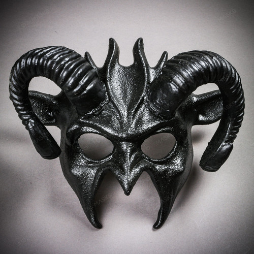 Demon Devil Satan with Black Horns Masquerade Mask - Black