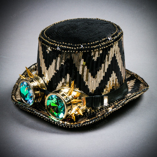 Steampunk ZigZag Sequin Top Hat with Kaleidoscope 3D Goggles - Black Gold