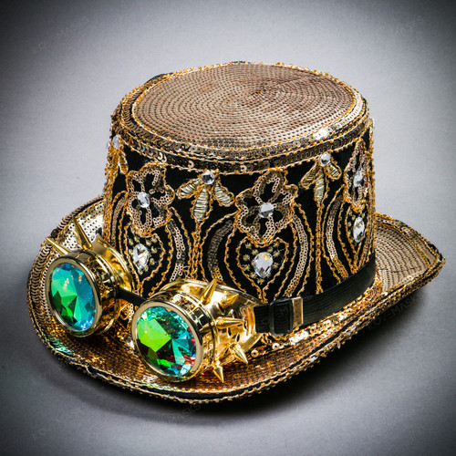 Steampunk Damask Sequin Top Hat with Kaleidoscope 3D Goggles - Black Gold