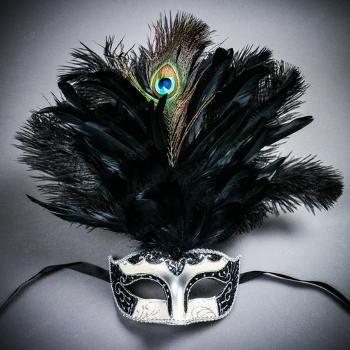 Venetian Glitter Crystal Mardi Gras Mask with Peacock Large Feather - Silver Black