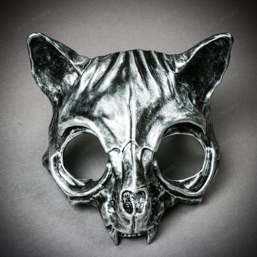 Vampire Cat Skull Masquerade Mask - Black Silver