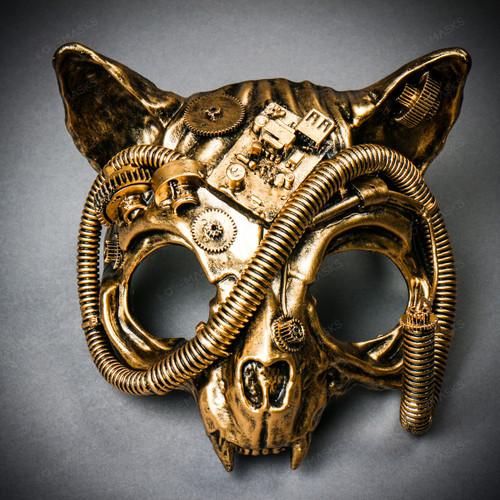 Vampire Cat Skull Steampunk Masquerade Mask - - Black Gold