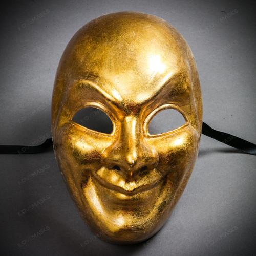 Venetian Volto Joker Full Face Mask - Gold