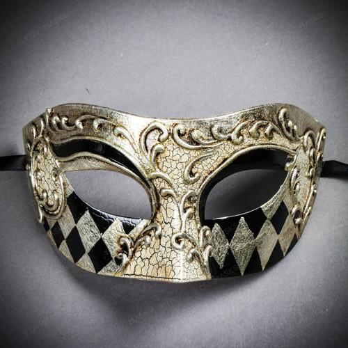 Venetian Mardi Gras Phantom Eye Mask Masquerade - White Silver